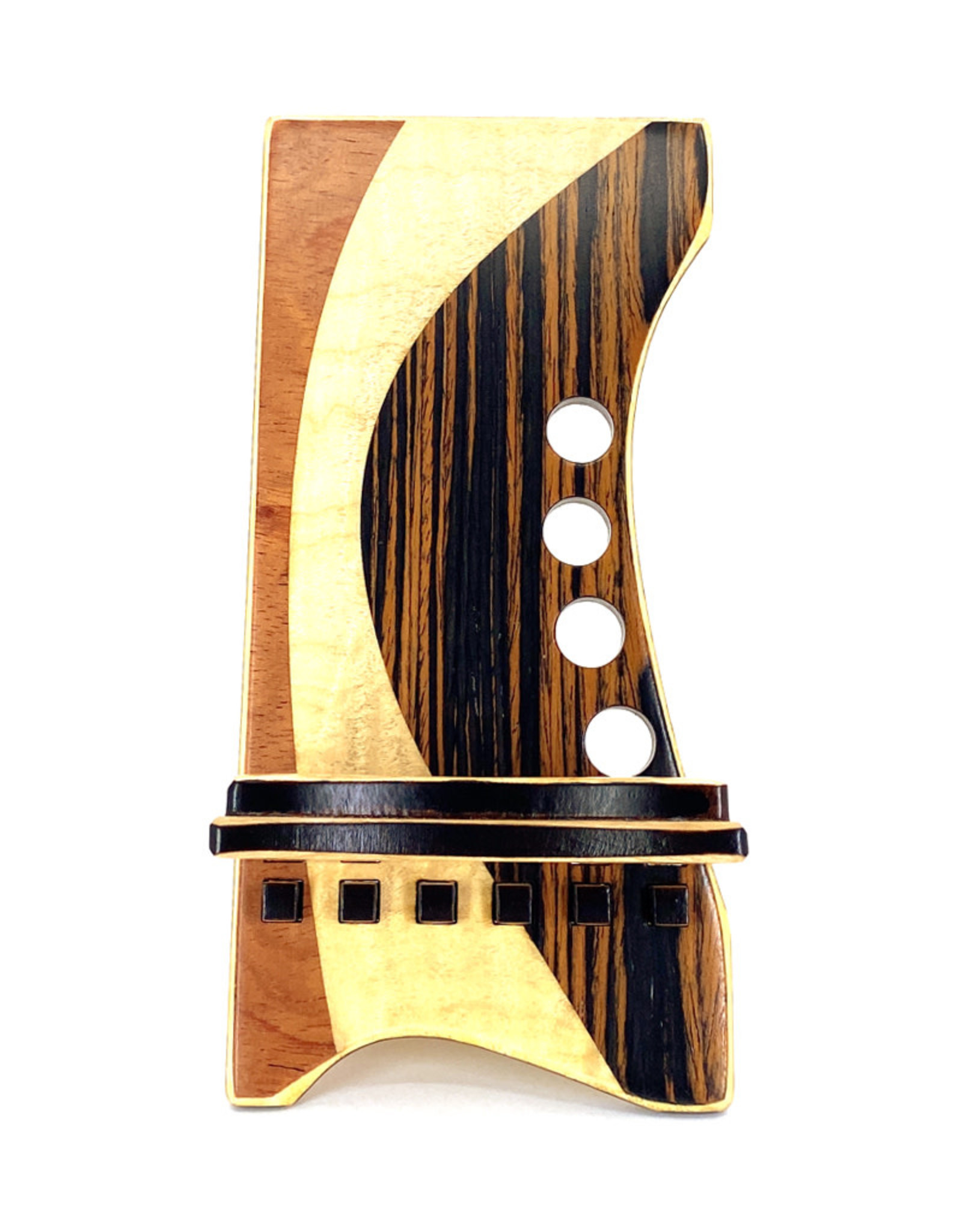 LOST ART WOODWORKS NATURAL WOOD XV MARQUETRY INLAID PHONE STAND