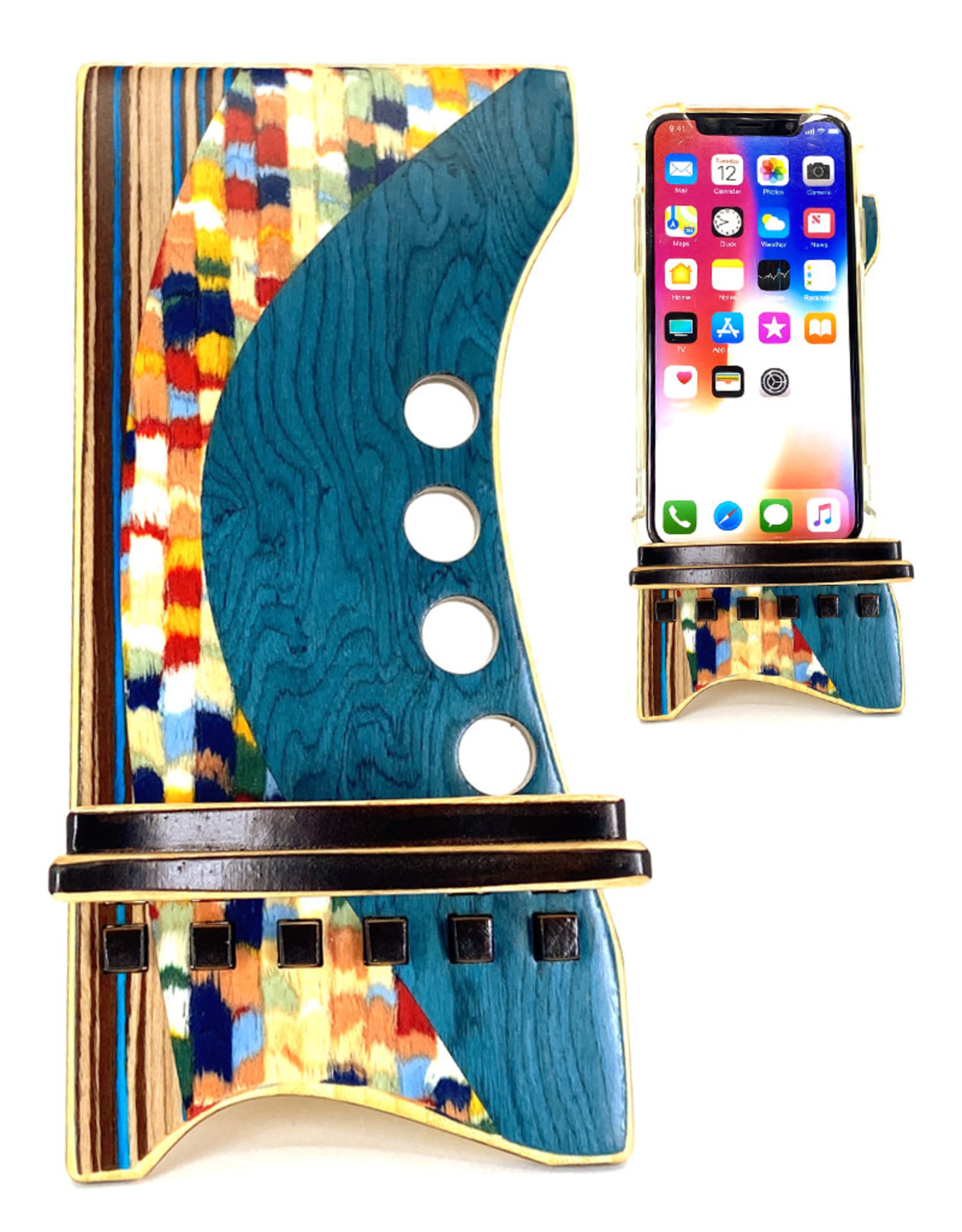 LOST ART WOODWORKS BLUE CONFETTI II MARQUETRY INLAID PHONE STAND