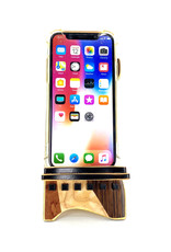 LOST ART WOODWORKS NATURAL WOOD XIV MARQUETRY INLAID PHONE STAND