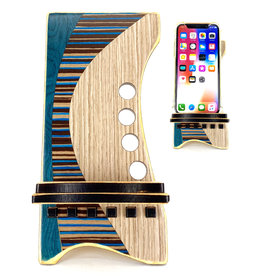 LOST ART WOODWORKS BLUE STRIPED VI MARQUETRY INLAID PHONE STAND