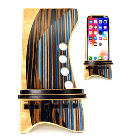 LOST ART WOODWORKS BROWN STRIPED IV MARQUETRY INLAID PHONE STAND