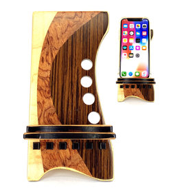 LOST ART WOODWORKS NATURAL WOOD XII MARQUETRY INLAID PHONE STAND