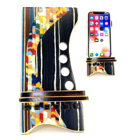 LOST ART WOODWORKS BLACK CONFETTI MARQUETRY INLAID PHONE STAND