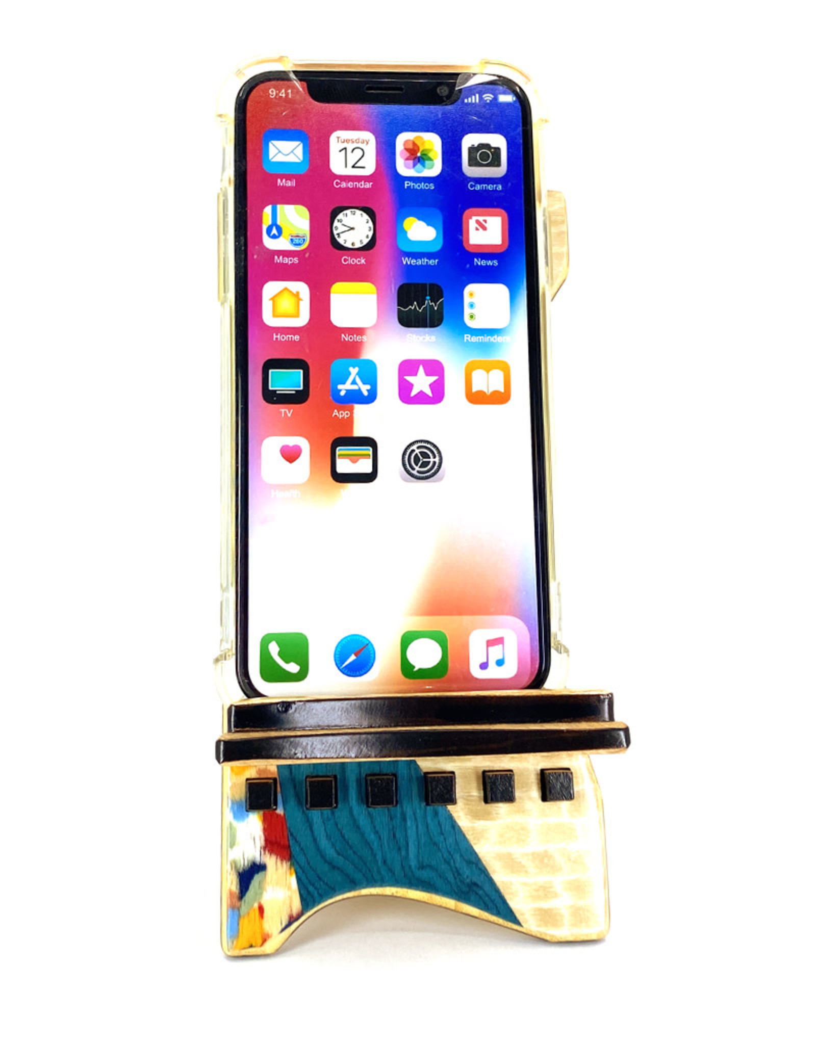 LOST ART WOODWORKS BLUE CONFETTI MARQUETRY INLAID PHONE STAND
