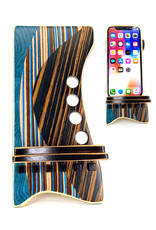 LOST ART WOODWORKS BLUE & BROWN STRIPED MARQUETRY INLAID PHONE STAND