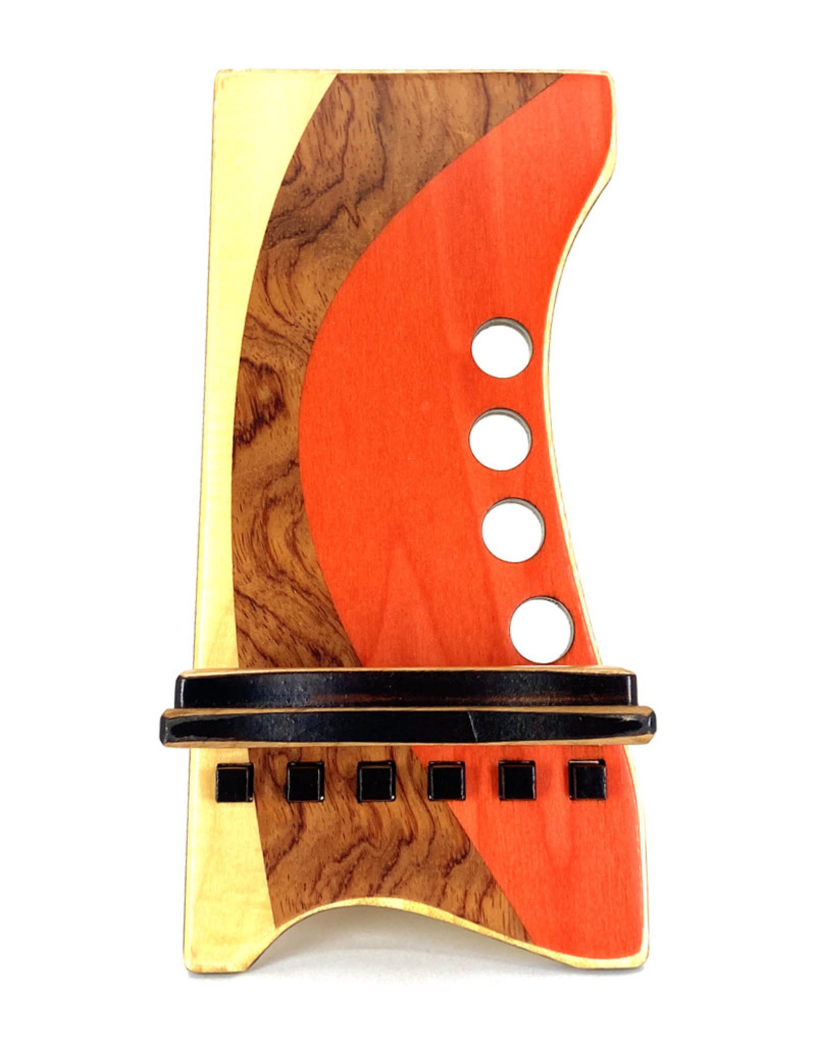 LOST ART WOODWORKS ORANGE & BROWN II MARQUETRY INLAID PHONE STAND