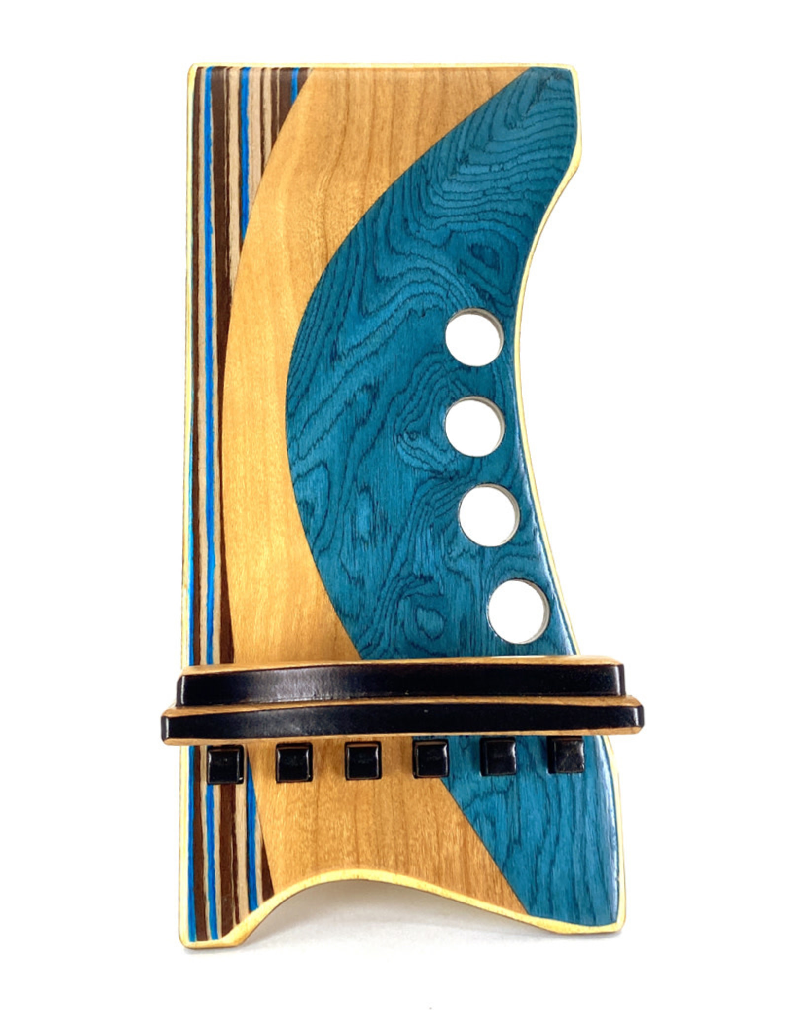 LOST ART WOODWORKS BLUE STRIPED V MARQUETRY INLAID PHONE STAND
