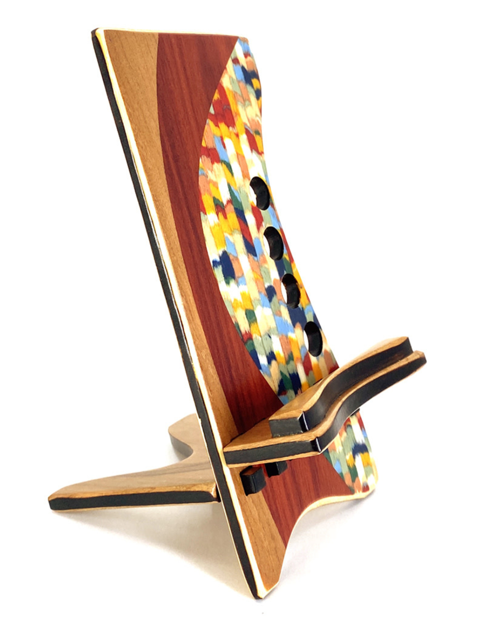 LOST ART WOODWORKS CONFETTI MARQUETRY INLAID PHONE STAND