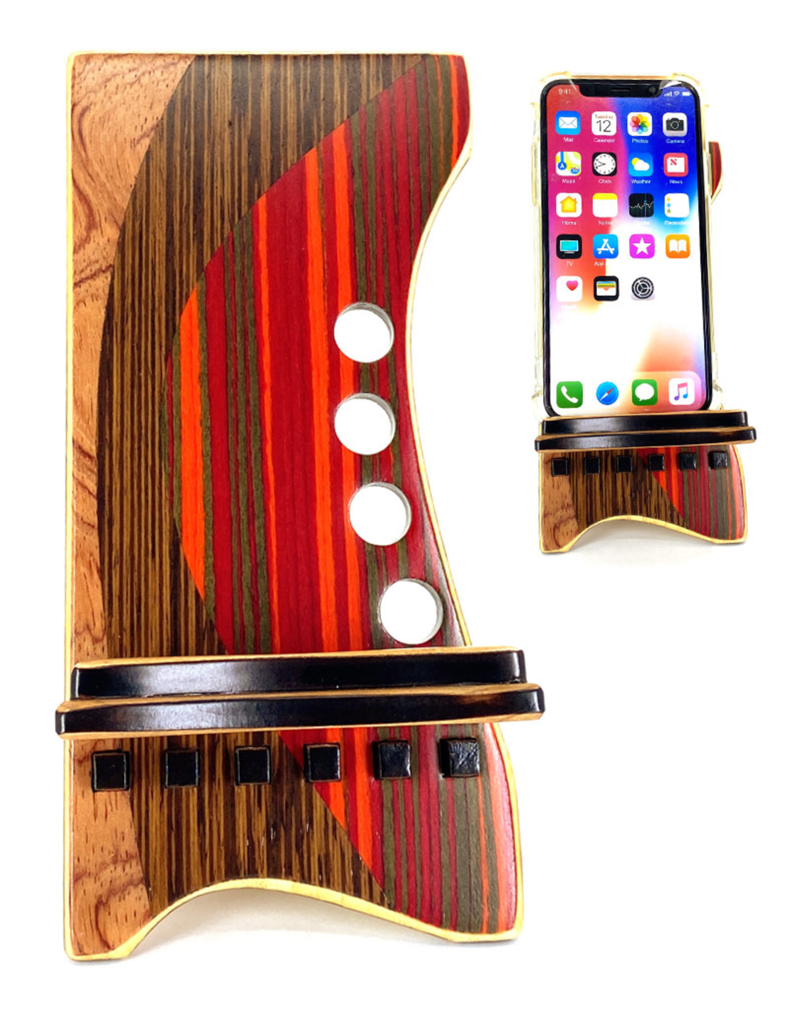 LOST ART WOODWORKS RED STRIPED V MARQUETRY INLAID PHONE STAND