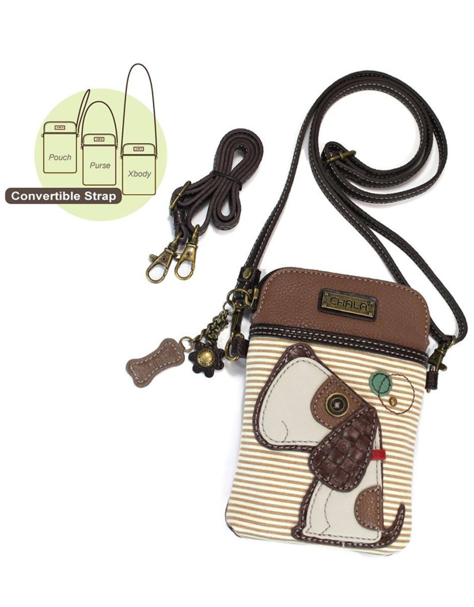 CHALA BROWN STRIPE DOG CELL PHONE CROSSBODY