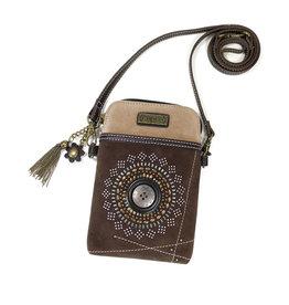 CHALA DARK BROWN STARDUST CELL PHONE CROSSBODY