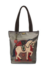 CHALA PEWTER HORSE EVERYDAY ZIP TOTE