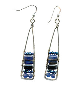 ART BY ANY MEANS TALL LAPIS STACK EARRINGS