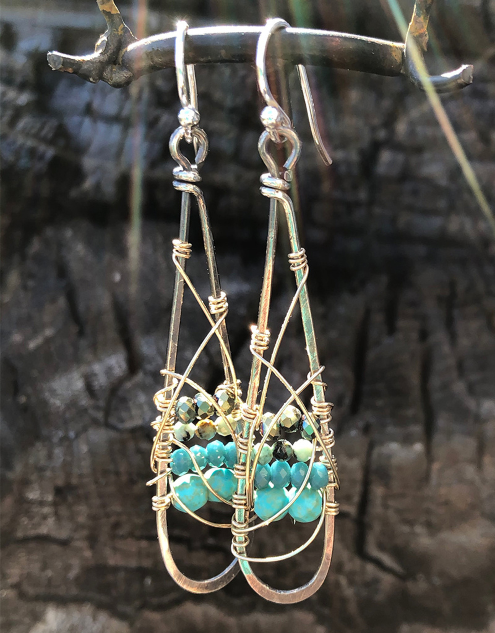 ART BY ANY MEANS TURQUOISE & CRYSTAL SWIRL DROP EARRINGS
