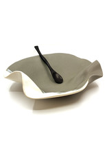 HILBORN POTTERY GRAY & WHITE TAPENADE BOWL WITH SPOON