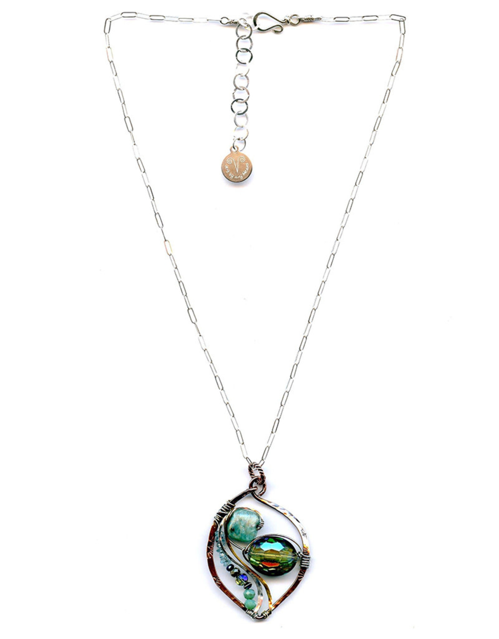 ART BY ANY MEANS AMAZONITE & CRYSTAL PAIR NECKLACE