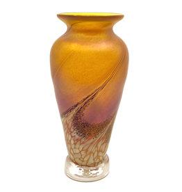 THE FURNACE GLASSWORKS SPLASH OF GOLD FLOWER BUD VASE