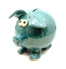 CLAY IN MOTION BLUE CERAMIC PIGGY BANK