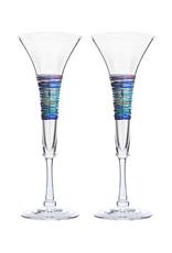 ROMEO GLASS CLEAR RAINBOW SPUN FLUTE GLASS