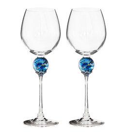 ROMEO GLASS TURQUOISE PLANET WINE GLASS