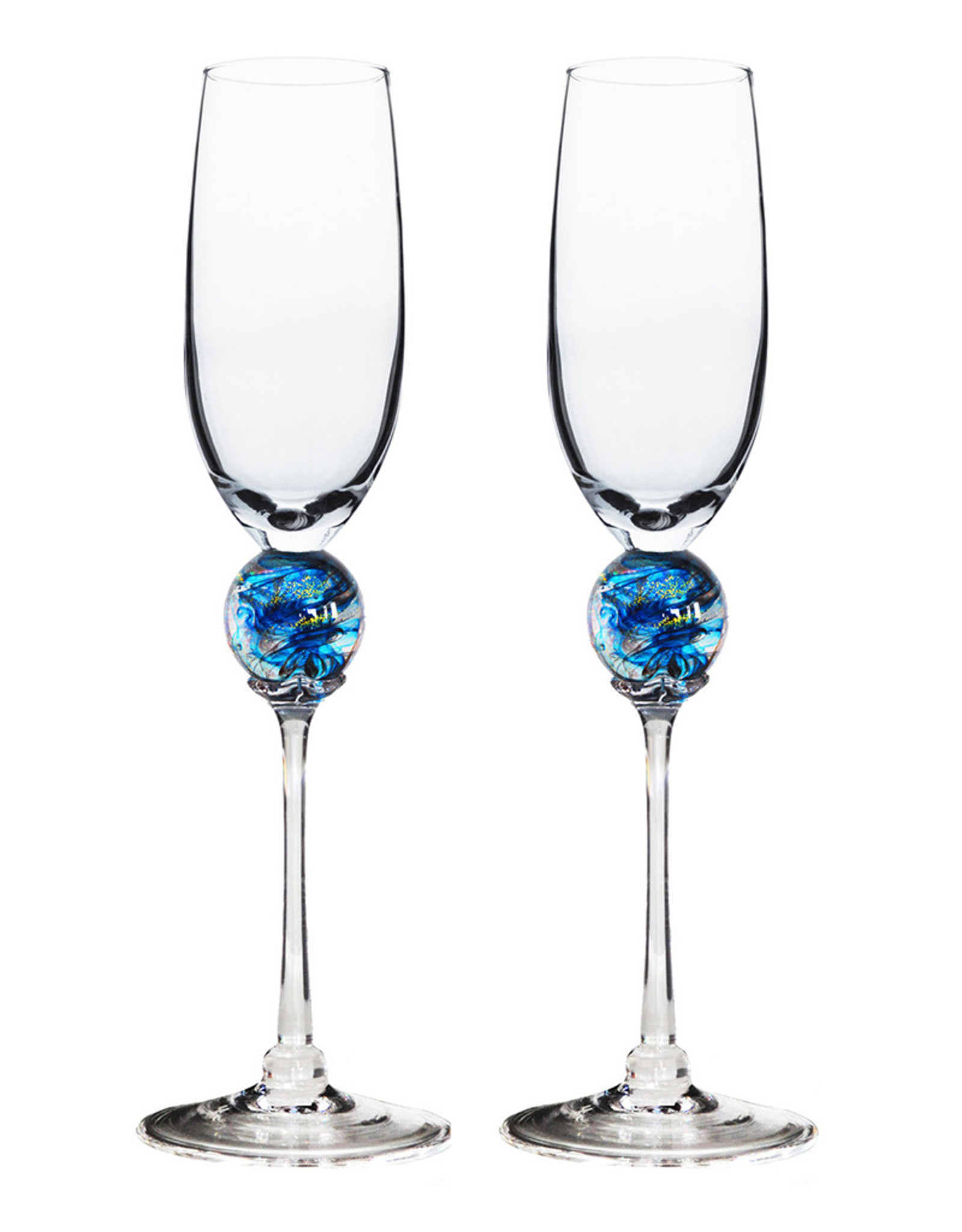 ROMEO GLASS TURQUOISE PLANET FLUTE GLASS