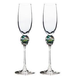 ROMEO GLASS GREEN PLANET FLUTE GLASS