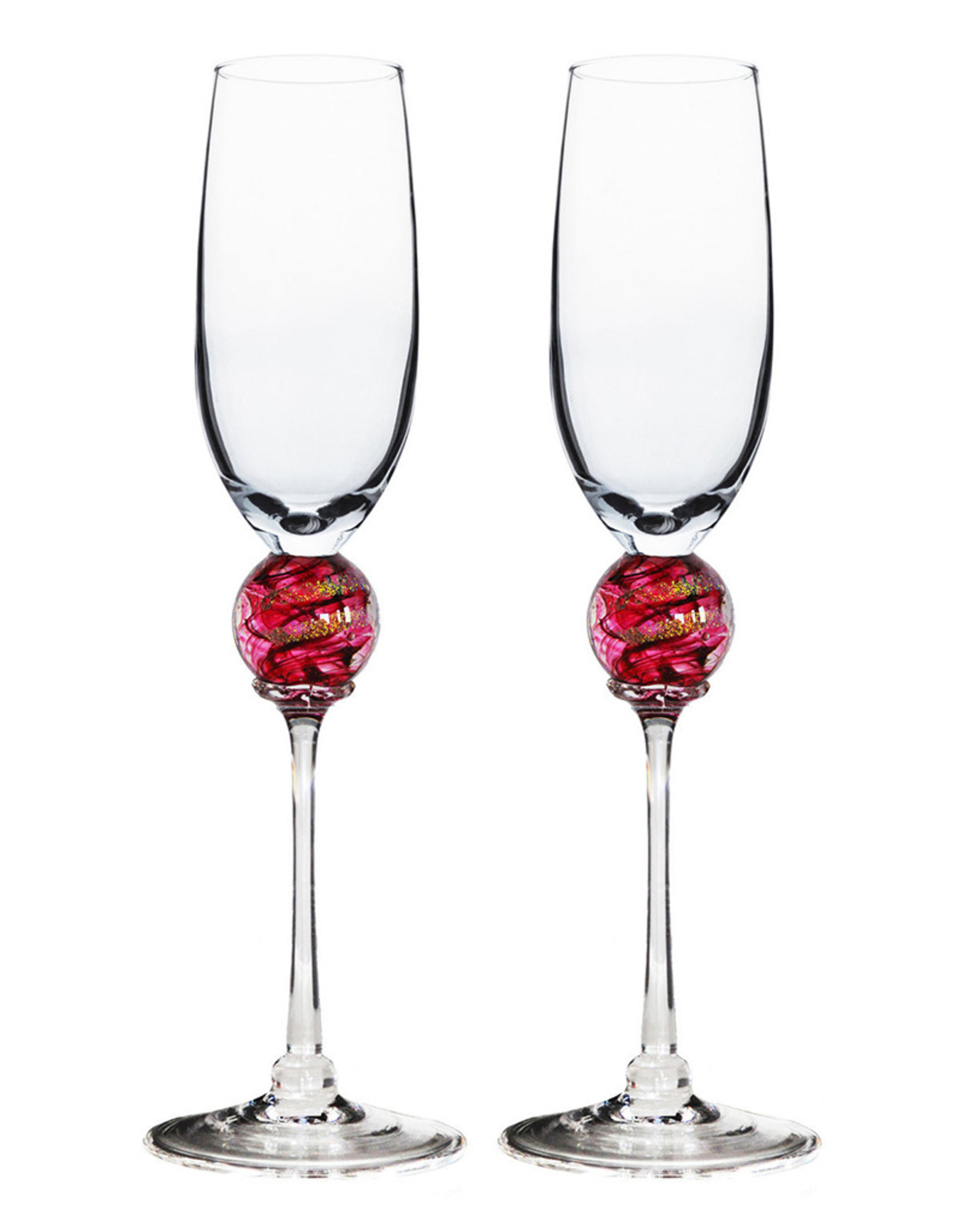 ROMEO GLASS RUBY PLANET FLUTE GLASS