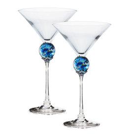 ROMEO GLASS TURQUOISE PLANET MARTINI GLASS