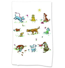 PAPER SHARKS DOGS DISH TOWEL