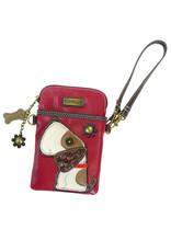 CHALA BURGUNDY DOG CELL PHONE CROSSBODY
