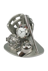 SANIS SILVER BASEBALL MINIATURE CLOCK
