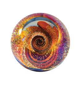 GLASS EYE STARBURST FIREBALL PAPERWEIGHT