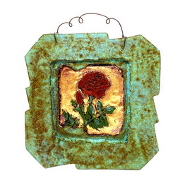 PAPER & STONE SMALL ROSE WALL PLAQUE