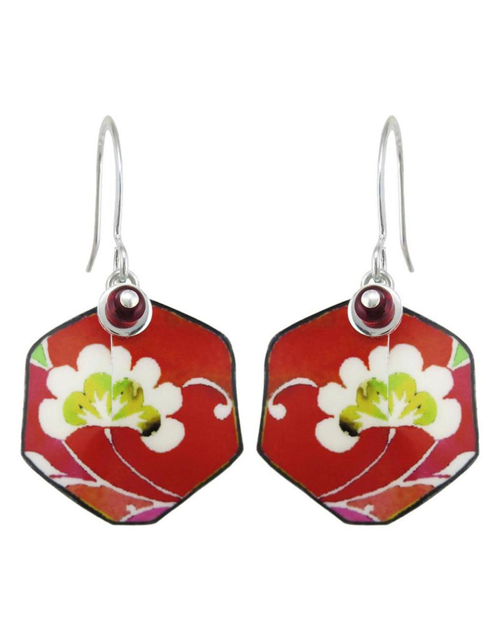 SINGERMAN & POST BLOOMING RED FLOWER EARRINGS