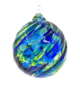 GLASS EYE PURPLE & BLUE TWIST ORNAMENT