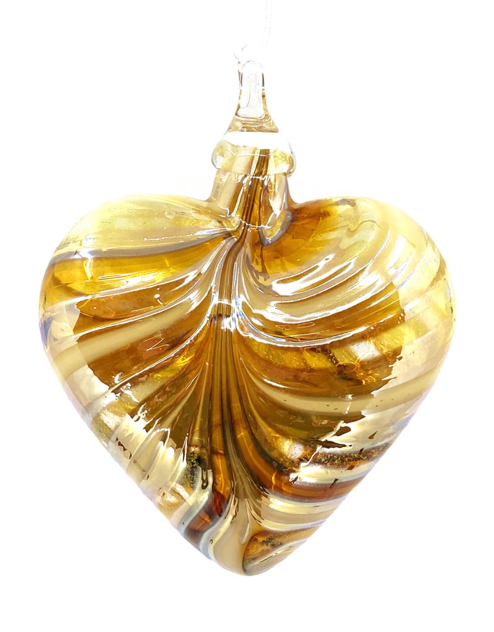 GLASS EYE GOLDEN AMBER HEART ORNAMENT