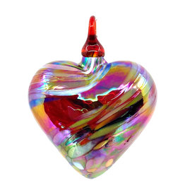 GLASS EYE RED FEATHER TWIST HEART ORNAMENT