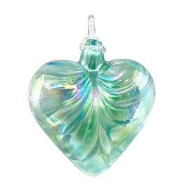 GLASS EYE JADE MOSAIC HEART ORNAMENT