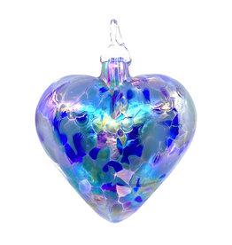 GLASS EYE LAVENDER HEART ORNAMENT