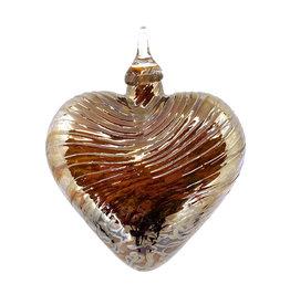 GLASS EYE GOLDEN LOVE HEART ORNAMENT