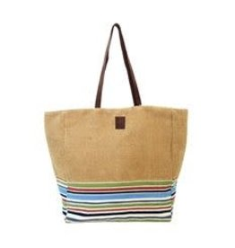 Tote-Striped Leather Handle