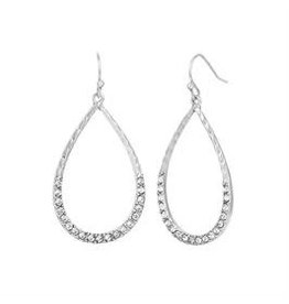 Whispers E/R- Whisper Silver Tear Drop w/Crystal