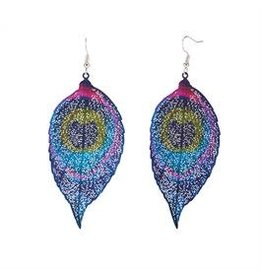 Whispers E/R- Whisper Painted Filigree Feather Earrings