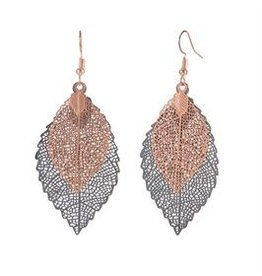 Whispers E/R- Whisper Painted Filigree Feather Bronze/Blk Earrings