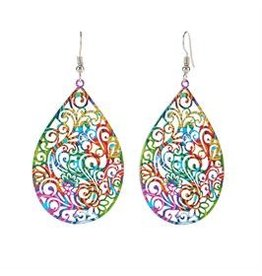 Whispers E/R- Whisper Painted Filigree Tear Drop Earring