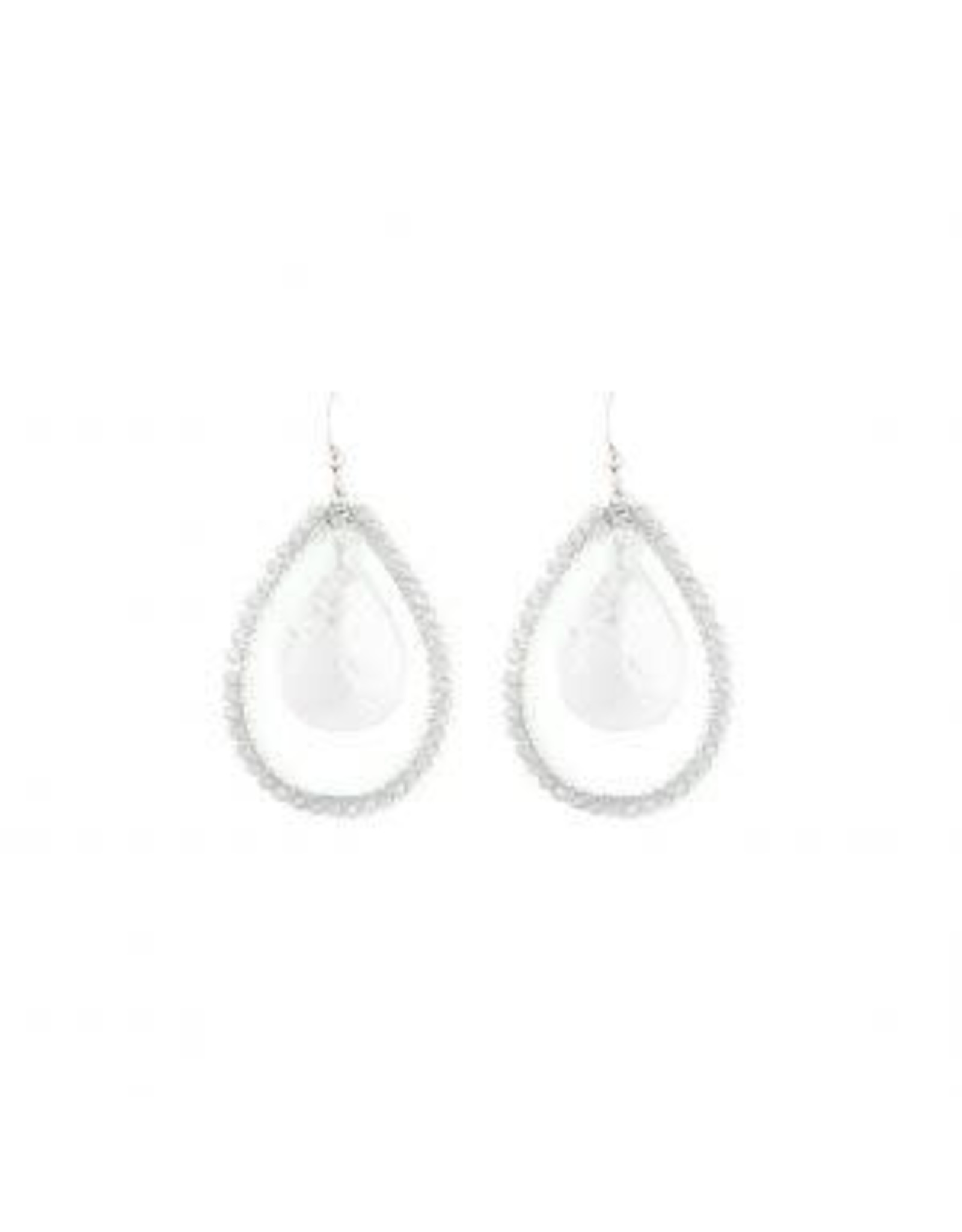 Splendid Iris E/R- Woven Ivory Teardrop Silver