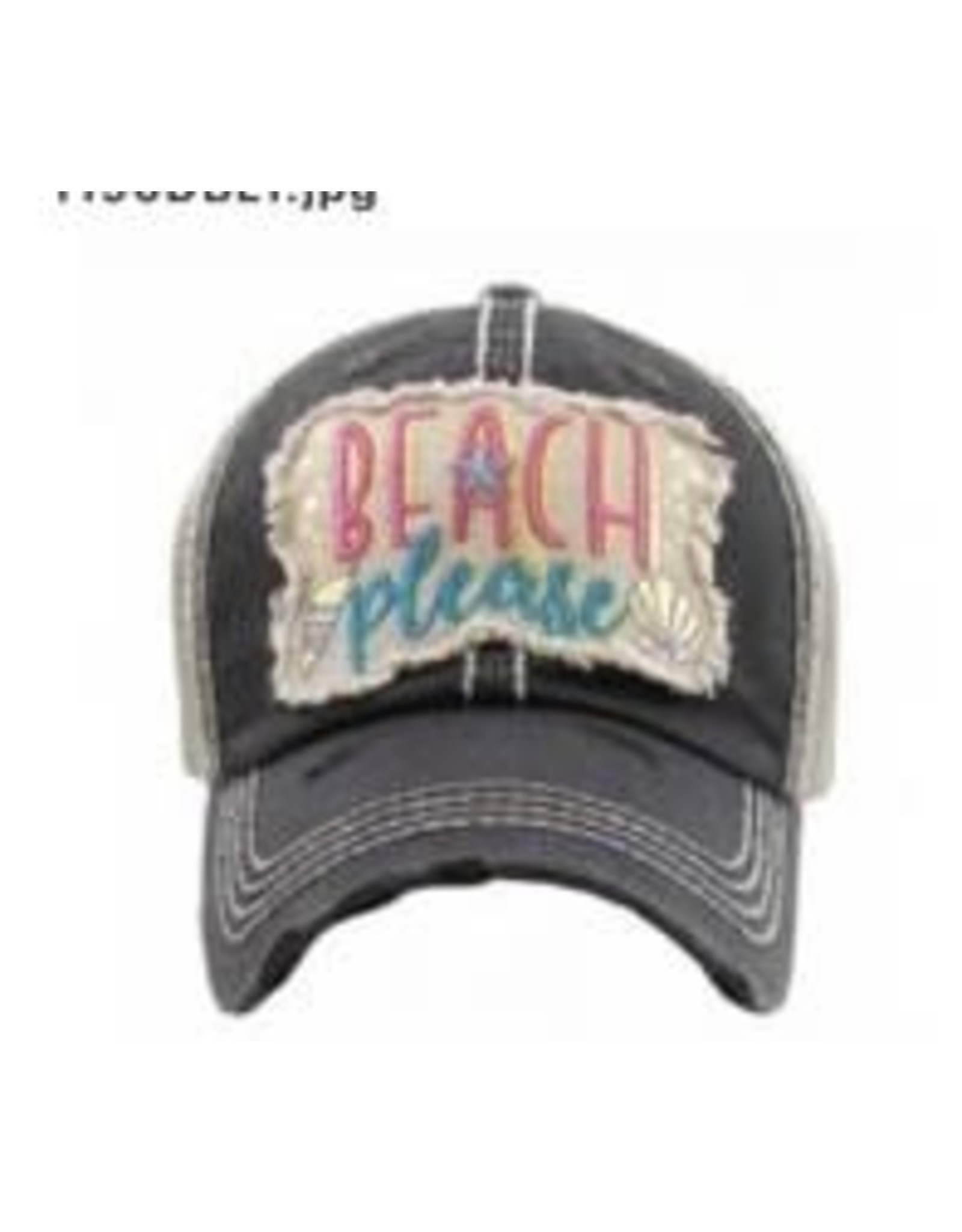 The Chic Bay Chic Hat- Beach Please Black