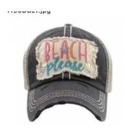The Chic Bay Chic Hat- Beach Please Black
