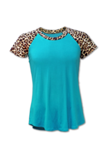 Couture Tee Company Courture Teal Leopard Raglan