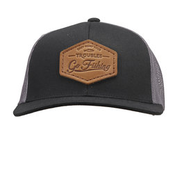 OOWEE- Hat Leather GO Fishing Patch Brown